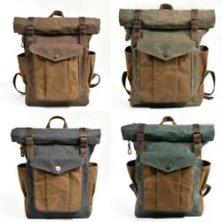 Vintage Oil Waxed Canvas Leather Backpack Large Capacity Waterproof Rucksack Bag