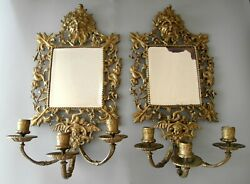 Pair Of Antique Baroque Bronze Wall Mirrors Candle Holders 18c France / Austria