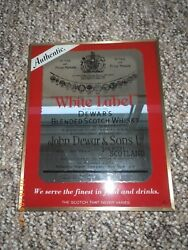 Authentic Dewars White Label Scotch Whisky Bar Man Cave Mirrored Sign Picture