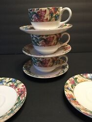 Royal Doulton Everyday Jacobean 3 Cups And Saucers Plus 2 Extra Saucers