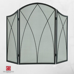 Fireplace Screen Protector 3 Panel Black Steel Arched Victorian Gothic Cover New