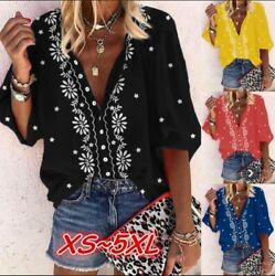 Women Casual Long Sleeve Button T Shirt V Neck Floral Tops Loose Blouse $14.69
