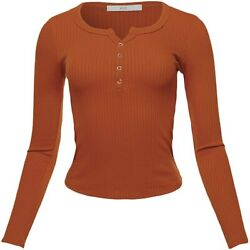 A2y Women's Lightweight Long Sleeve V-neck Ribbed Henley Tops Tees
