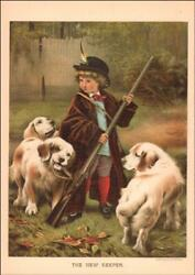 CLUMBER SPANIEL DOGS Play Hunting LITTLE BOY RIFLE antique chromo 1886*