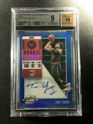 Trae Young 2018 Panini Contenders Optic Blue 124 Auto Rookie Rc /99 Bgs 9 10