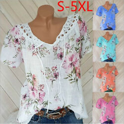 Summer Women Casual Lace Short Sleeve T Shirt V Neck Floral Tops Loose Blouse $14.69