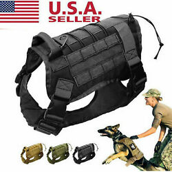 US Tactical K9 Training Dog Harness Military Police Adjustable Molle Nylon Vest