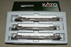 Ho Scale Kato Bnsf Swoosh Thrall 53' Articulated Containers Car Maxi 765483