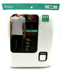 9 White Tall Man Xlt 46-48 Inch Crew Neck T-shirts Fruit Of The Loom 117-122 Cm