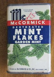 1949 Mccormick Mint Flakes Cardboard Body Tin Ends Over 1/2 Full Advertising