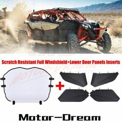 Lower Door Panels Inserts + Full Windshield For Can-am Maverick X3 Max 2017-2021