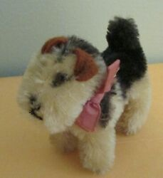 1950s Mohair STeiff Airdale TErrier Ribbon Collar NO TAGS Glass Eyes 3.5