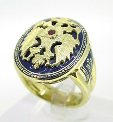 14k Yellow Gold Very Rare Russian Double Eagle Enamel Ruby Antique Ring 9