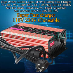 2a-9a Adj 72v 84v 96v 120v High Power E-bike Li-ion Lifepo4 Battery Fast Charger