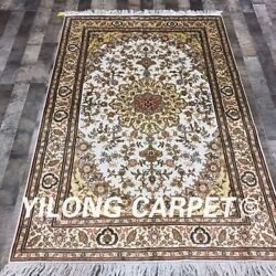 Yilong 4'x6' Classic Hand Knotted Silk Carpet Family Room Indoor Rug Lh978b