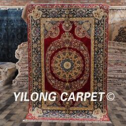 Yilong 4'x6' Handknotted Classic Style Area Rug Red Medallion Villa Carpet P010a