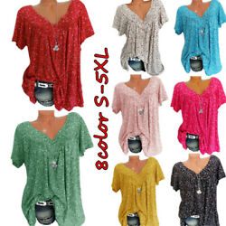 Women Summer Boho Short Sleeve Floral V Neck T Shirt Blouse Casual Tunic Tops $12.59