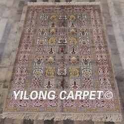 Yilong 4and039x6and039 Antique Silk Handmade Area Rug Handwork Four Seasons Carpets 074m