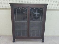 Antique Oak Bookcase, Locking Leaded Glass Doors, Claw Footed, Pickup Only