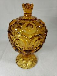 Vintage Amber Depression Glass Smith Moon And Stars Covered Compote, Candy Dish