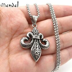 MENDEL Mens Fashion Stainless Steel Fleur De Lis Pendant Necklace Jewelry Chain
