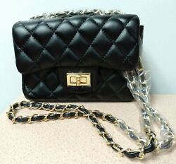 SD Leather Crossbody Bag Quilted Leather Purse – Women's Crossbody Bags Black $35.19