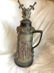 Antique Handmade One Of A Kind Medieval Figurine Painted Pottery Beer Pitcher