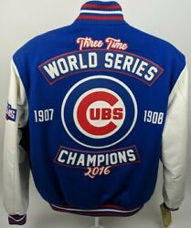 Chicago Cubs 2016 World Series Champions Leather And Wool Jacket Authentic Design