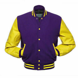 Menand039s Varsity Jacket Genuine Leather Sleeve And Wool Body Letterman Boys College