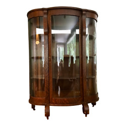 Antique American Bow Glass China Cabinet - Chittendon And Eastman