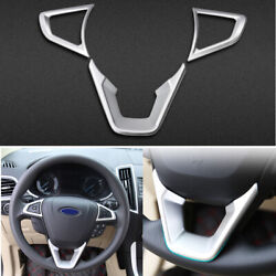 For 2013 2014-2020 Ford Mondeo-fusion Abs Silver Steering Wheel Frame Cover Trim
