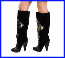New Versace Chrystal-embellished Cross Velvet And Leather Knee Boots 40 - 10
