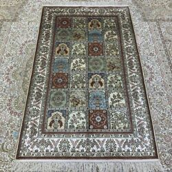 Yilong 3and039x5and039 Tree Of Life Handcraft Carpet Flowers Hand Knotted Silk Rug 253b
