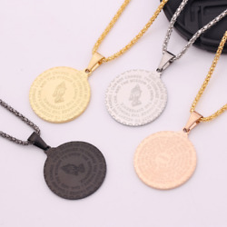 Bible Verse Prayer Necklace Christian Jewelry Praying Hands Coin Medal Pendant