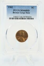 1982-p Pcgs Ms66rd Bronze Large Date Lincoln Cent Business Strike 1c