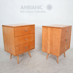 Paul Mccobb Maple Wood Lacquered Dressers With Silver Pulls 1950s Usa - A Pair