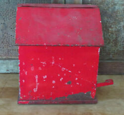 St Louis Mo Dairy Products Dcs Red Metal Porch Milk Bottle Box W Insert And Lever