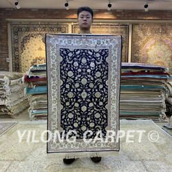 Yilong 2.5and039x4and039 Flower Handmade Silk Area Rug Home Interior Carpet H167b