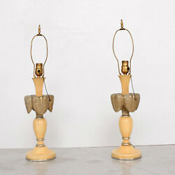 French Art Deco Painted Mahogany Dainty Table Lamps Leaf Motif 1940s - A Pair