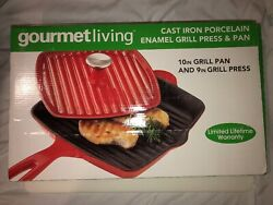 """Gourmet Living 10"""" Red Cast Iron Porcelain Enamel Grill Pan W/9"""" Grill Press"""