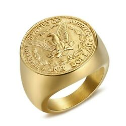 Ba0327 Ring Menand039s Coin Morgan 1887 One Dollar Usa In God We Trust Steel 316 Gold