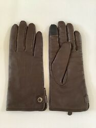 Cole Haan Mens Brown Leather Cashmere Lined Driving Gloves Texting Size S/m Nwot