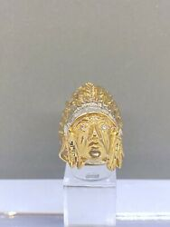 Vintage 14k Yellow Gold Native American/indigenous Chief Headdress Ring