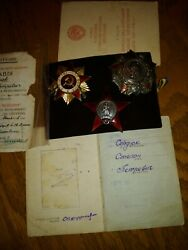 Original Soviet Russian Ussr Group Set Group Order Badge Medals With Document