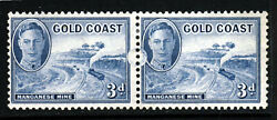Gold Coast King George Vi 1948 3d. Blue A Pair With Full Moon Flaw Sg 140 Mint