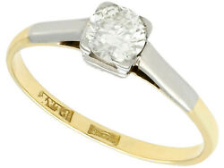 Antique 0.60 Ct Diamond And 18k Yellow Gold Solitaire Engagment Ring 1930s