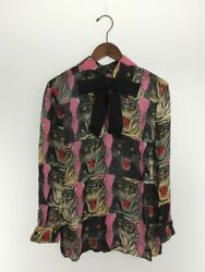 Second Hand Gucci Long Sleeve Blouse 40 Silk Pnk With Tag Cover Hanger  No.17092
