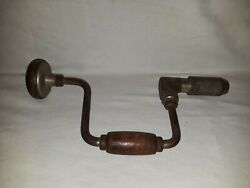 Vintage Hand Crank Wood Handle Drill Screw Driver Made In Usa.