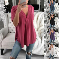Women Summer Short Sleeve T Shirt Casual V Neck Solid Blouse Solid Loose Tops $12.03