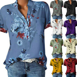 Women Summer Short Sleeve Button T Shirt V Neck Casual Floral Blouse Loose Tops $13.48